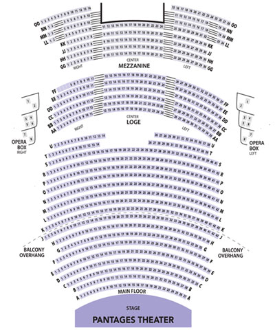 Pantages Theater Seating Chart for Broadway Center Events